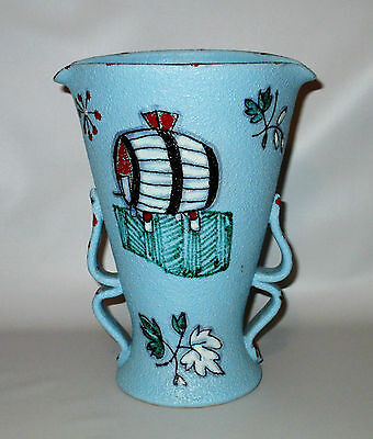 Fratelli Fanciullacci Vase Wine Pitcher Italy Blue Grapes Signed FF Pottery