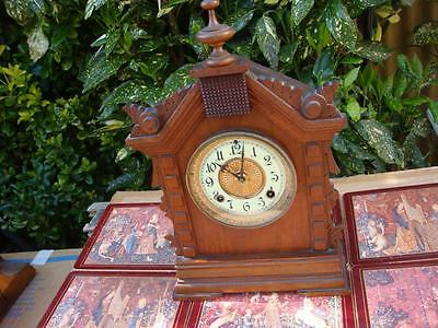 Antique  Old  Vintage  Ansonia   Mantle Clock &  Pendulum  AND  Key   See Video
