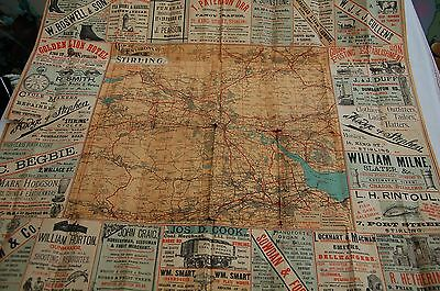 Victorian Vintage Map of the Environs of Stirling/Local Adverts