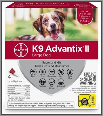 Bayer K9 Advantix II Flea & Tick Treatment for Large Dogs 21-55 lbs 4 Months