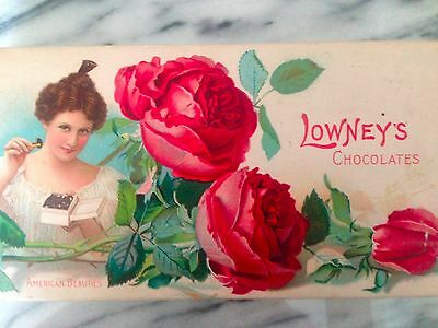 Antique Advertising Lowney's American Beauties Rose Chocolate's  Candy Box Large