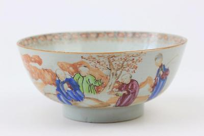 Antique Chinese Porcelain Famille Rose Bowl With Figures In An Outside Setting