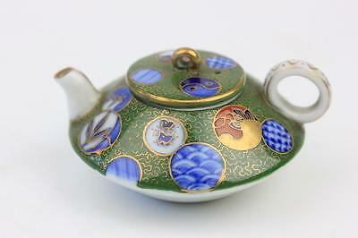 Japanese Miniature Porcelain Teapot With Blue & White Circles Marked Inside Lid