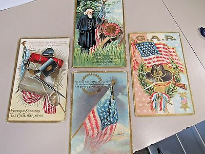 Lot Of Four Vintage Post Civil War Post Cards  (9744-Card-Y)