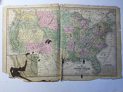 1852 Mitchell's School Atlas Map Of UNITED STATES of AMERICA, hand colored map