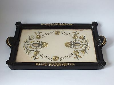 Vintage Antique Wooden Serving Tray Shell Handles Embroidered Glass