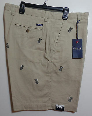 Men's Waist Size 40 Chaps Shorts! Tan With Black Pineapple! New!