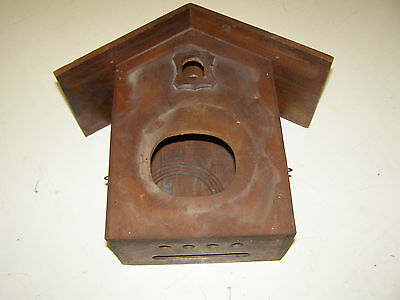 "Antique American Coo Coo Clock Case/box 11"" tall by 7 1/2"" wide with back door"