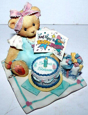 BIRTHDAY BEAR age 16 Sixteen Candles many more wishes NIB Cherished Teddies NEW
