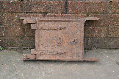 39.8 cm x 21.8 cm old cast iron fire oven door doors flue  clay range  pizza