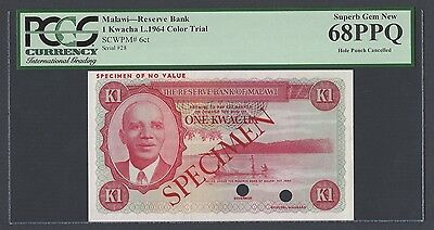Malawi One Kwacha L.1964  P6ct  Color Trial Uncirculated