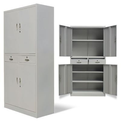 4 Door 2 Drawer Office Cabinet Tool Locker File Storage Cupboard Metal Gray