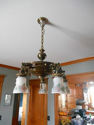 Gorgeous Victorian Antique 5 Arm Brass Pan Chandelier HandPainted Frosted Globes