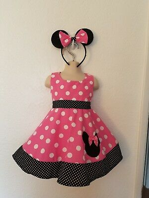 # 7 Custom Handmade Boutique Pink polka dot Disney Minnie Mouse Dress size12m-6y