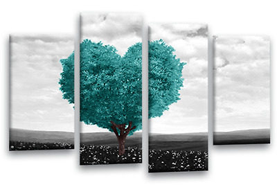 Abstract Love Heart Tree Teal Black White Grey Canvas Wall Art Picture Print