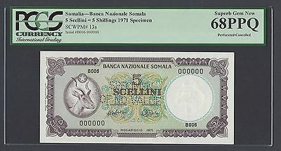 Somalia 5 Shillings 1971 P13s Specimen Perforated Uncirculated