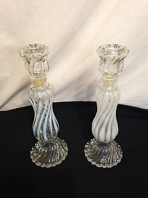 Vintage AVON 1970's Opalique Candlestick Swirl Milk Glass Candle Holder SET OF 2