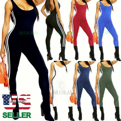 Women Lady Sleeveless Long Romper Jumpsuit Bodysuit Stretch Leotard Top Blouse