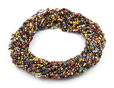 Small Vintage Christmas Beads Dark Red Medley 3mm Ghana African Multicolor Mixed