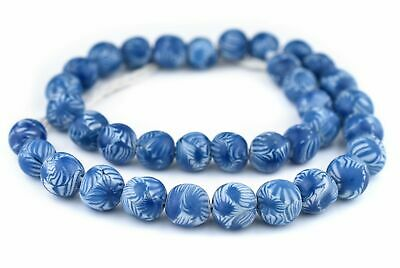 Round Blue Millefiori Beads 12mm Indonesia Glass Large Hole 24 Inch Strand