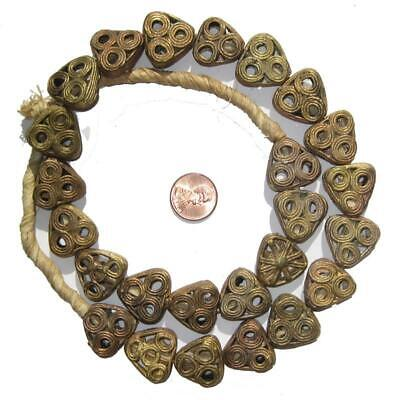 African Brass Filligree Triangle Beads Ghana
