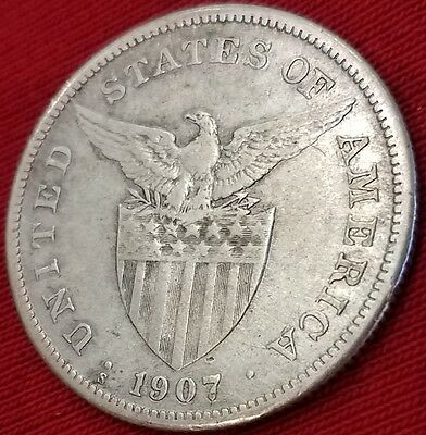1907-S Peso, Philippines, US TERRITORY 1896-JULY 4 1946, SAN FRANCISCO MINT!