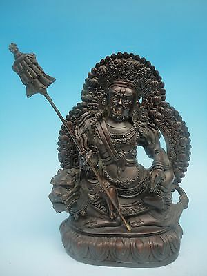 Rare Collecting China Tibet Ancient Bronze Sculpture God of wealth Buddha H10""