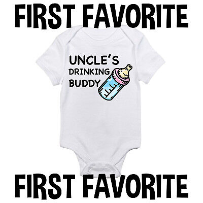 Uncle's Drinking Buddy Baby Onesie Shirt Brother Funny Cute Gift Infant Gerber