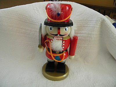 LARGE Soldier All Wood Christmas Holiday NUTCRACKER W/ Sword, Great Used