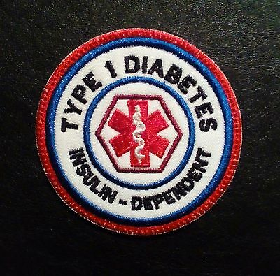 Embroidered Patch- Medical Alert-Type 1 Diabetes- Iron on- Sew on