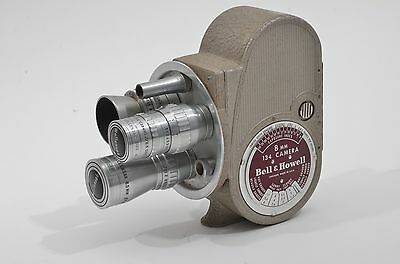 GORGEOUS BELL & HOWELL134 8mm MOVIE TURRET STYLE CAMERA, 3 LENSES, *WORKS!!