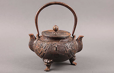 Japanese IRON TEA KETTLE KIBUNDO 亀文堂 / Twin Spout 鉄瓶 / W 15 [cm]
