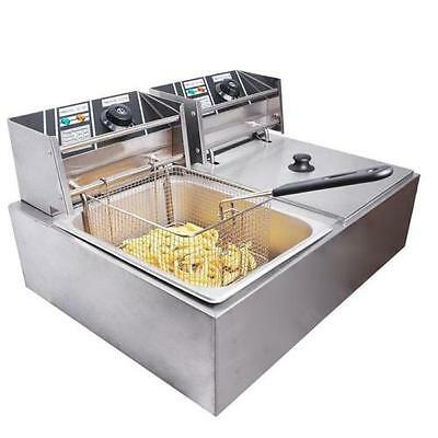 5000W Electric Double  Basket Deep Fryer Dual Tank Commercial Restaurant 110V