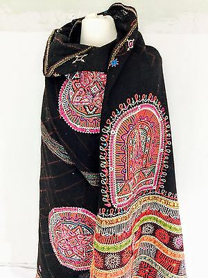 Fine Vintage Rabari Wool Shawl / Throw Embroidered Mirror Work Tribal Exquisite!