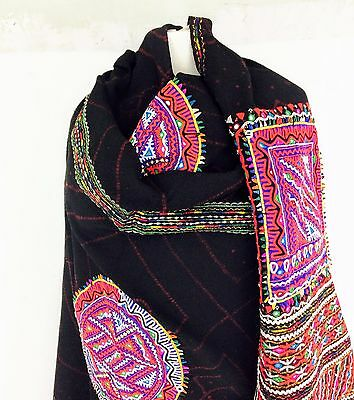 Vintage Rabari Wool Shawl and Throw Embroidered Mirror Work Tribal