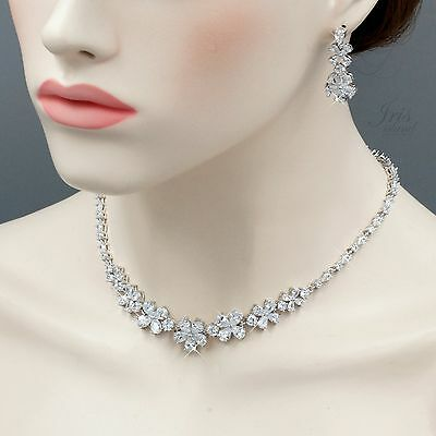 White Gold Plated Zirconia CZ Necklace Earrings Bridal Wedding Jewelry Set 05211