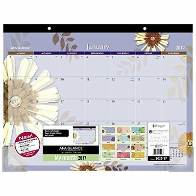 """AT-A-GLANCE Desk Pad Calendar 2017, Monthly, 21-34 x 17"""", Paper Flowers"""