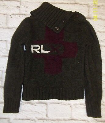 RLX Ralph Lauren Children's Unisex Green Sweater Size 4/5 Wool Cashmere Cross