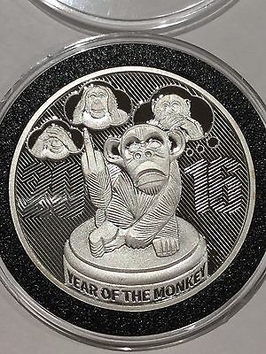 Year Of The Monkey Flip The Bird Proof Coin 1 Troy Oz .999 Fine Silver Round Gem