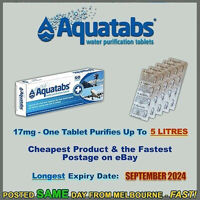 Aquatabs 200 pack water purification tablets treatment cheapest hiking camping