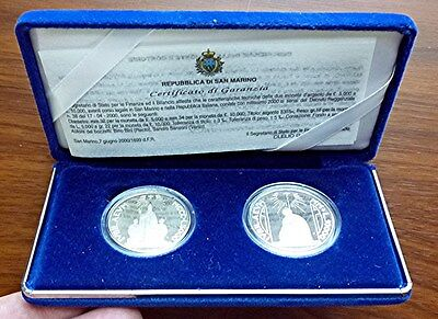 2000 San Marino - Official Holy Year Silver Proof Set (2) - 5,000 & 10,000 Lire