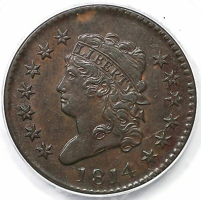 1814 S-295 PCGS AU 55 CAC Plain 4 Classic Head Large Cent Coin 1c