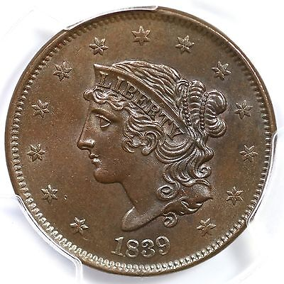 1839 N-14 R-3 PCGS MS 63 Matron or Coronet Head Large Cent Coin 1c Ex; Naftzger
