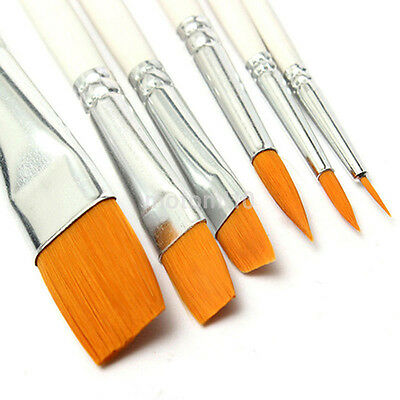 6Pcs Art Painting Brushes Set Acrylic Oil Watercolor Artist Paint Nylon Brush US