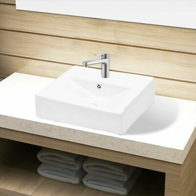 Ceramic Bathroom Sink Basin Faucet/Overflow Hole White Rectangular Washroom