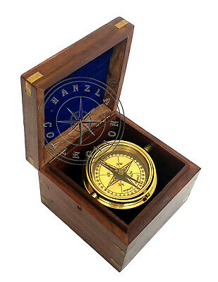 Vintage Brass Marine Gimbal Compass Boxed Wood Stanley London Ship Boat Compass