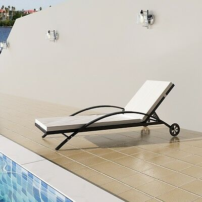 New Outdoor Furniture Rattan Lounge Bed Lounge Chair Recliner with Castors Black