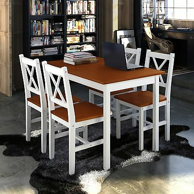 New 1 Wooden Table with 4 Wooden Chairs Home Dining Room Furniture Set Brown