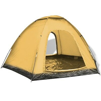 6-Person Camping Hiking Tent 2 Entrances Waterproof Yellow Outdoor Family Trip