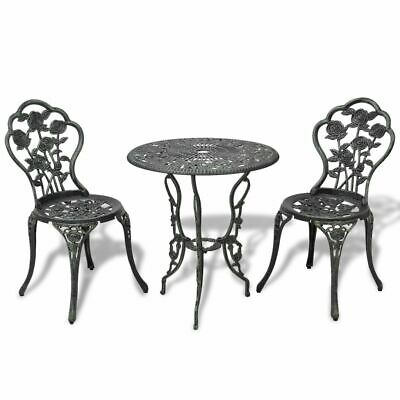 3 Piece Bistro Set Outdoor Garden Table and Chairs Furniture Cast Aluminium